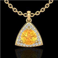 1.50 CTW Citrine & Micro Pave Halo VS/SI Diamond Necklace 18K Yellow Gold - REF-41A6X - 20522