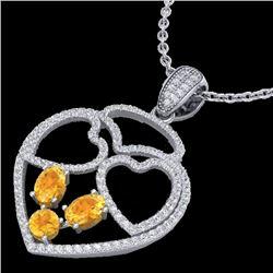 3 CTW Citrine & Micro Pave Designer Inspired Heart Necklace 14K White Gold - REF-117Y8K - 22536