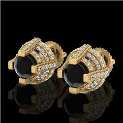 2.75 CTW Fancy Black Diamond Solitaire Micro Pave Stud Earrings 18K Yellow Gold - REF-180Y2K - 37627