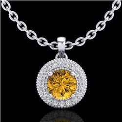 1 CTW Intense Fancy Yellow Diamond Solitaire Art Deco Necklace 18K White Gold - REF-138N2Y - 37665
