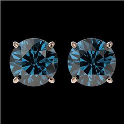 1.97 CTW Certified Intense Blue SI Diamond Solitaire Stud Earrings 10K Rose Gold - REF-205X9T - 3665