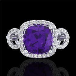 3.75 CTW Amethyst & Micro VS/SI Diamond Ring 18K White Gold - REF-65A8X - 22995
