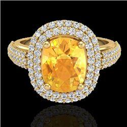 3.50 CTW Citrine & Micro Pave VS/SI Diamond Halo Ring 14K Yellow Gold - REF-98K2W - 20716