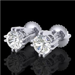 1.07 CTW VS/SI Diamond Solitaire Art Deco Stud Earrings 18K White Gold - REF-200Y2K - 36911
