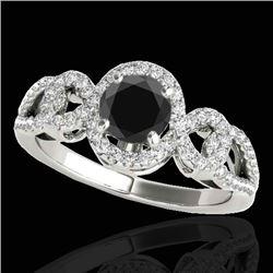 1.38 CTW Certified VS Black Diamond Solitaire Halo Ring 10K White Gold - REF-70W2F - 33921