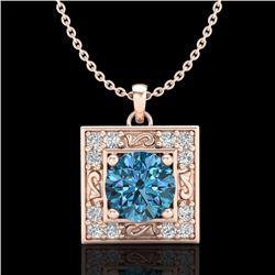 1.02 CTW Fancy Intense Blue Diamond Solitaire Art Deco Necklace 18K Rose Gold - REF-125H5A - 38168