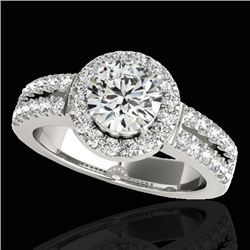 1.5 CTW H-SI/I Certified Diamond Solitaire Halo Ring 10K White Gold - REF-180N2Y - 33989