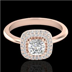 1.16 CTW Micro Si Cushion Diamond Engagement Ring Solitaire Halo 14K Rose Gold - REF-134H4A - 21030