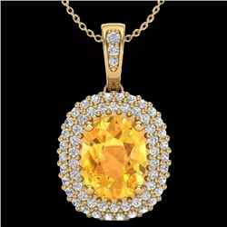 3 CTW Citrine & Micro Pave VS/SI Diamond Halo Necklace 14K Yellow Gold - REF-65H5A - 20412