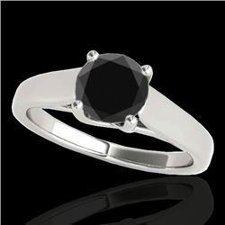 1 CTW Certified VS Black Diamond Solitaire Ring 10K White Gold - REF-42M4H - 35528