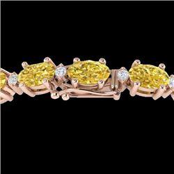 25.8 CTW Citrine & VS/SI Certified Diamond Eternity Bracelet 10K Rose Gold - REF-118M4H - 29448