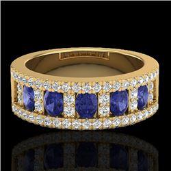 1.75 CTW Tanzanite & Micro Pave VS/SI Diamond Inspired Ring 10K Yellow Gold - REF-64K4W - 20832