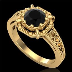 1 CTW Fancy Black Diamond Solitaire Engagement Art Deco Ring 18K Yellow Gold - REF-100K2W - 37445