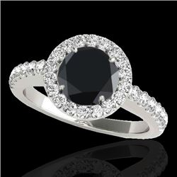 1.65 CTW Certified VS Black Diamond Solitaire Halo Ring 10K White Gold - REF-80X4T - 33475