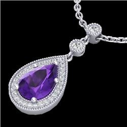 2.25 CTW Amethyst & Micro Pave VS/SI Diamond Necklace Designer 18K White Gold - REF-46W2F - 23127