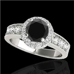 2.1 CTW Certified VS Black Diamond Solitaire Halo Ring 10K White Gold - REF-102N9Y - 34543
