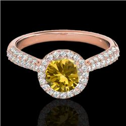 1.4 CTW Certified Si/I Fancy Intense Yellow Diamond Solitaire Halo Ring 10K Rose Gold - REF-170A4X -
