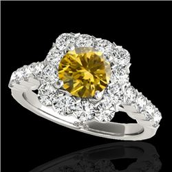 2.5 CTW Certified Si/I Fancy Intense Yellow Diamond Solitaire Halo Ring 10K White Gold - REF-212H8A