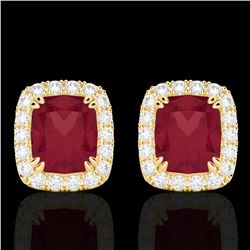 2.50 CTW Ruby & Micro Pave VS/SI Diamond Halo Earrings 10K Yellow Gold - REF-49T3M - 22869