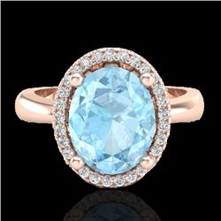 2.50 CTW Aquamarine & Micro Pave VS/SI Diamond Ring Halo 14K Rose Gold - REF-53N5Y - 21094