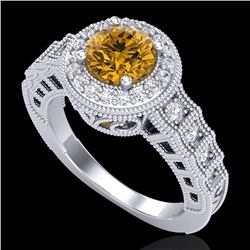 1.53 CTW Intense Fancy Yellow Diamond Engagement Art Deco Ring 18K White Gold - REF-263W6F - 37651
