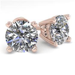 2.01 CTW VS/SI Diamond Stud Designer Earrings 14K Rose Gold - REF-530W8F - 30594