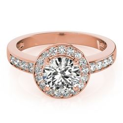 1.4 CTW Certified VS/SI Diamond Solitaire Halo Ring 18K Rose Gold - REF-383A8X - 26971