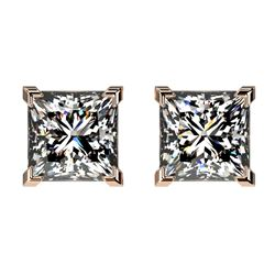 2 CTW Certified VS/SI Quality Princess Diamond Stud Earrings 10K Rose Gold - REF-585T2M - 33095