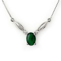 1.30 CTW Emerald & Diamond Necklace 10K White Gold - REF-20A2X - 11633