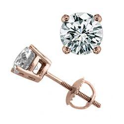 1.50 CTW Certified VS/SI Diamond Solitaire Stud Earrings 18K Rose Gold - REF-301K3W - 13048