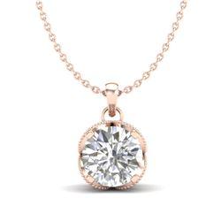 1.13 CTW VS/SI Diamond Solitaire Art Deco Stud Necklace 18K Rose Gold - REF-217X3T - 36864