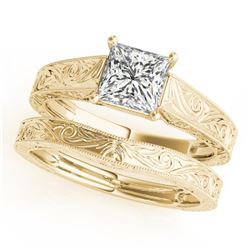 1 CTW Certified VS/SI Princess Diamond 2Pc Wedding Set 14K Yellow Gold - REF-347M5H - 32086