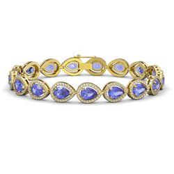 19.14 CTW Tanzanite & Diamond Halo Bracelet 10K Yellow Gold - REF-396X5T - 41101