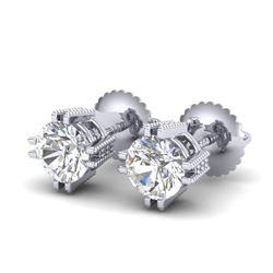 1.07 CTW VS/SI Diamond Solitaire Art Deco Stud Earrings 18K White Gold - REF-200K2W - 36911