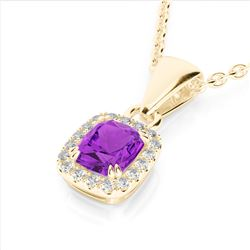 1.25 CTW Amethyst & Micro Pave VS/SI Diamond Halo Necklace 10K Yellow Gold - REF-28Y8K - 22877
