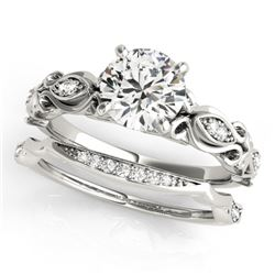 0.96 CTW Certified VS/SI Diamond Solitaire 2Pc Wedding Set Antique 14K White Gold - REF-207K3W - 314