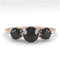 1 CTW Past Present Future Black Certified Diamond Ring 18K Rose Gold - REF-71K3W - 35906