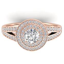 1.15 CTW Certified VS/SI Diamond Art Deco Halo Ring 14K Rose Gold - REF-147M3H - 30364