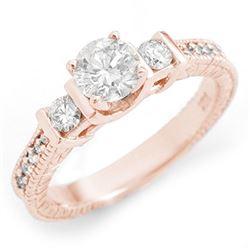 1.0 CTW Certified VS/SI Diamond Ring 14K Rose Gold - REF-150H4A - 11533