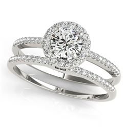 0.85 CTW Certified VS/SI Diamond 2Pc Wedding Set Solitaire Halo 14K White Gold - REF-116H5A - 30795