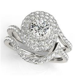 1.67 CTW Certified VS/SI Diamond 2Pc Wedding Set Solitaire Halo 14K White Gold - REF-169X3T - 31295