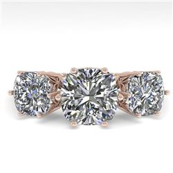 2.0 CTW Past Present Future Certified VS/SI Cushion Diamond Ring 18K Rose Gold - REF-414N2Y - 35918