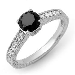 1.30 CTW VS Certified Black & White Diamond Solitaire Ring 14K White Gold - REF-57T3M - 14030