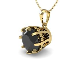 1 CTW Black Diamond Solitaire Necklace 18K Yellow Gold - REF-45T3M - 35725