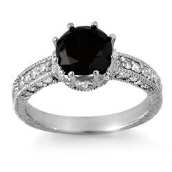 2.0 CTW VS Certified Black & White Diamond Ring 18K White Gold - REF-104X5T - 11810