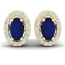 1.02 CTW Sapphire & Micro Pave VS/SI Diamond Earrings Halo 18K Yellow Gold - REF-32A8X - 21194