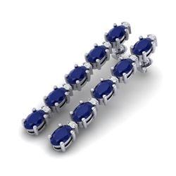 17.97 CTW Sapphire & VS/SI Certified Diamond Tennis Earrings 10K White Gold - REF-145Y5K - 29489