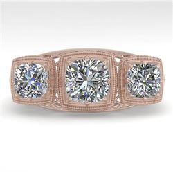 2 CTW Past Present Future VS/SI Cushion Cut Diamond Ring Deco 18K Rose Gold - REF-481W6F - 36071