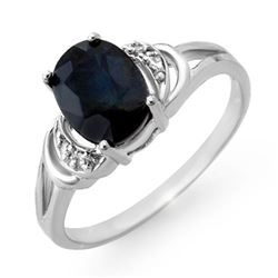 2.06 CTW Blue Sapphire & Diamond Ring 14K White Gold - REF-24Y5K - 12386