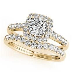 1.74 CTW Certified VS/SI Cushion Diamond 2Pc Set Solitaire Halo 14K Yellow Gold - REF-464T4M - 31339